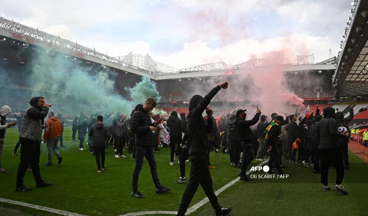 Hinchas de Manchester en Old Trafford