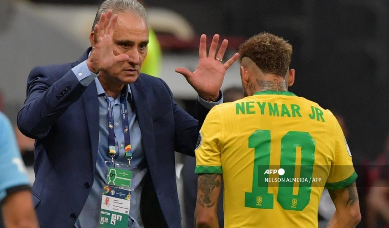 Tite y Neymar - Brasil 2021