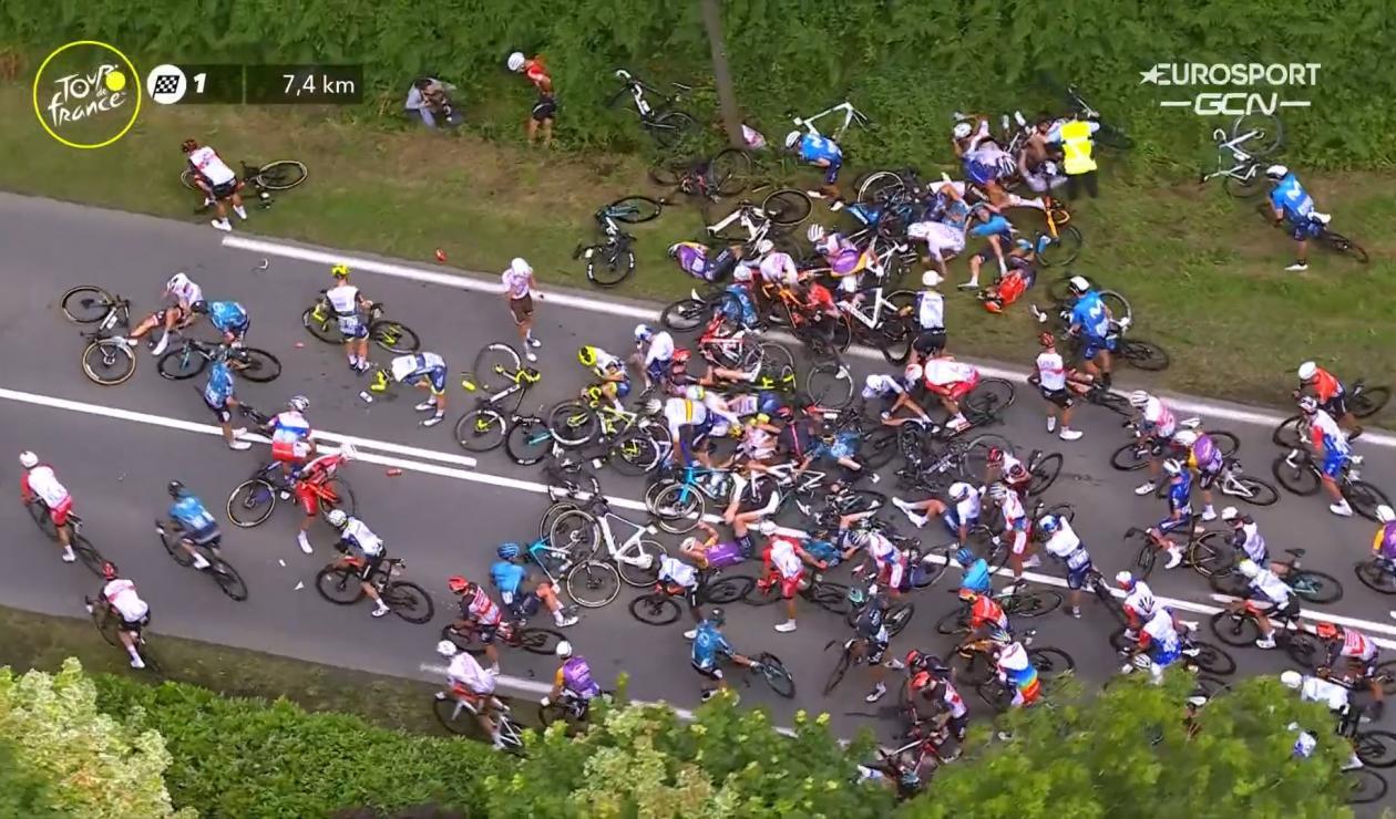 Tour de Francia 2021, etapa 1 caída