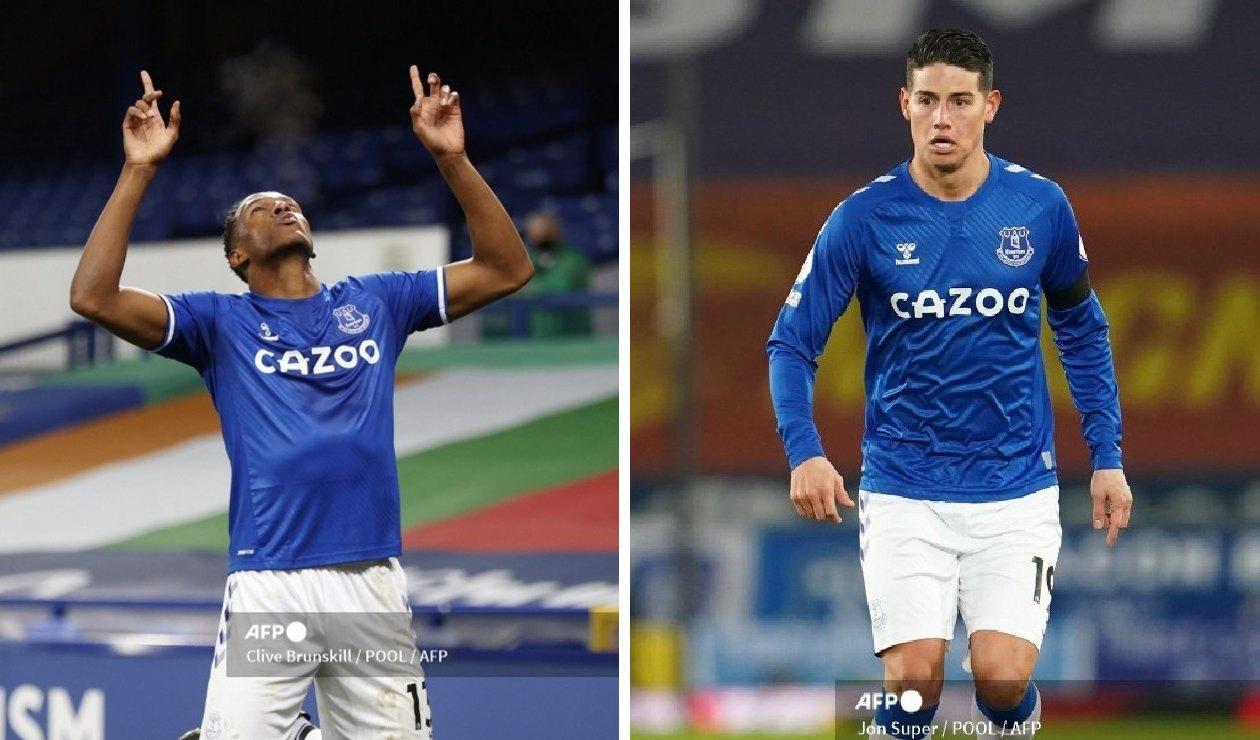 Yerry Mina y James Rodríguez en Everton