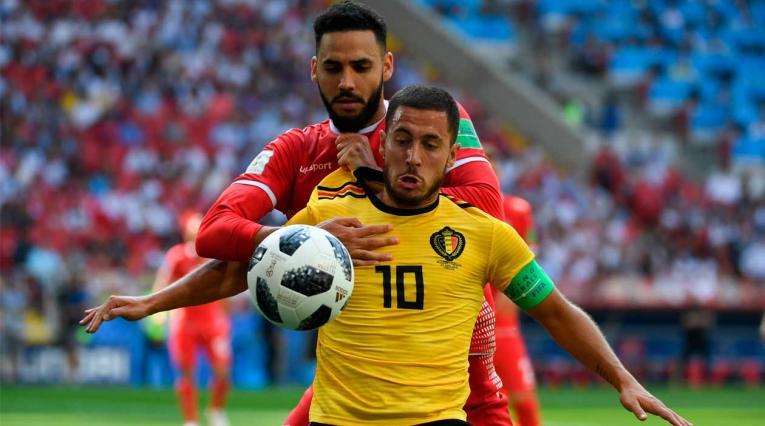 Eden Hazard, autor del primer gol de Bélgica ante Túnez