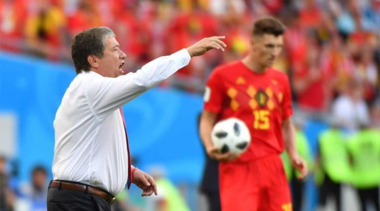 Hernán Darío Gómez en el debut de Panamá ante Bélgica