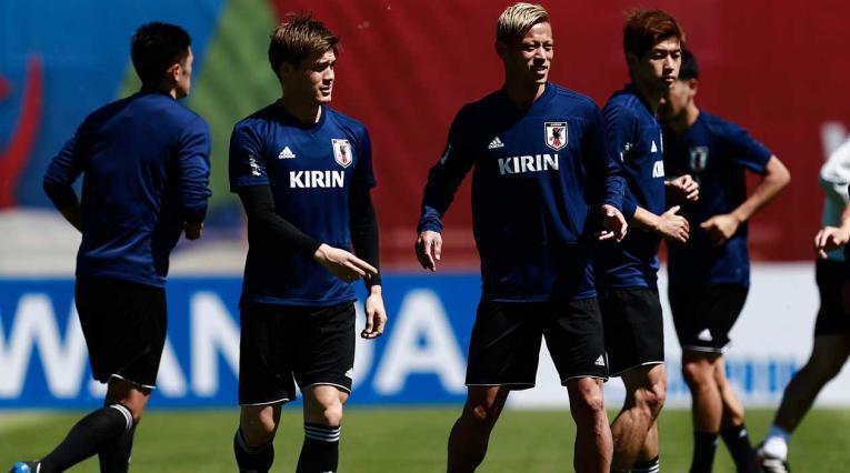 La selección de Japón entrenando antes del partido ante Colombia