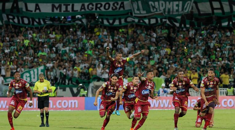 Momento en que Tolima comenzó a celebrar el título ante Nacional