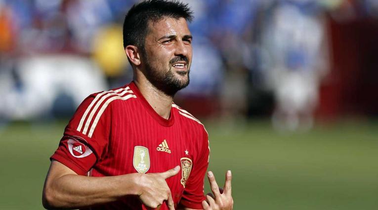 David Villa, delantero español, jugando con la Selección de su país