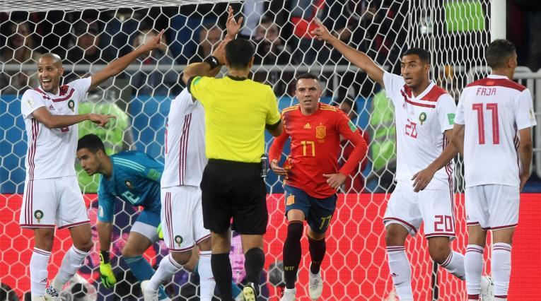 Iago Aspas antes de que el VAR decretara el gol de España ante Irán