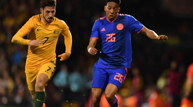 Johan Mojica, jugador de la Selección Colombia, en el partido amistoso ante Australia