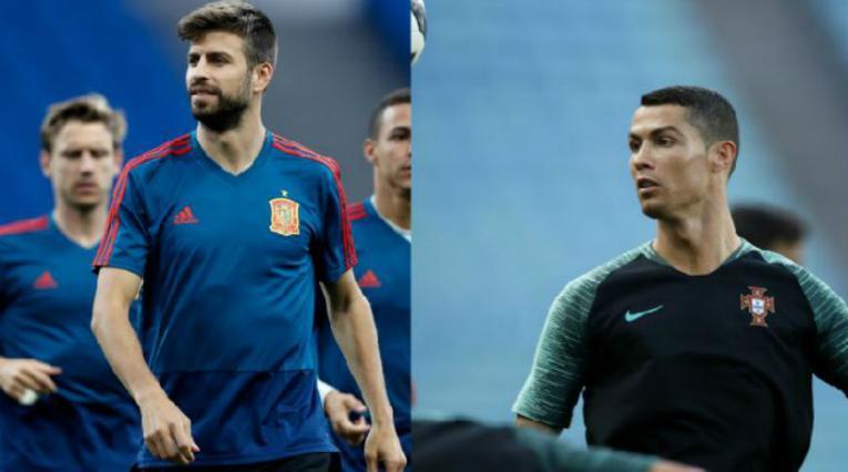 Gerard Piqué y Cristiano Ronaldo