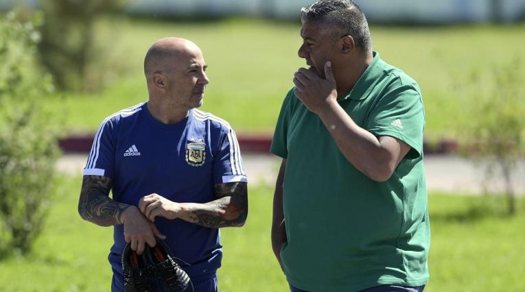 Jorge Sampaoli, DT de Argentina y Claudio Tapia, presidente de AFA