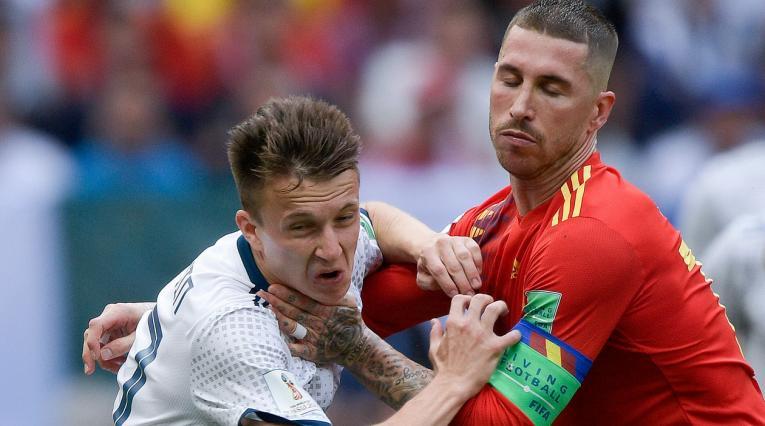 Sergio Ramos, capitán de España en el partido ante Rusia