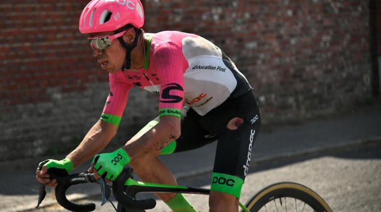 Rigoberto Urán durante la novena etapa del Tour de Francia