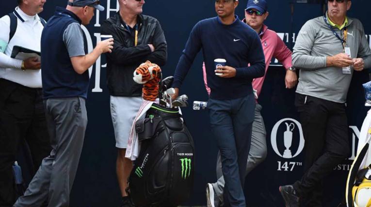Tiger Woods, durante los previos en el Abierto Británico de 2018.