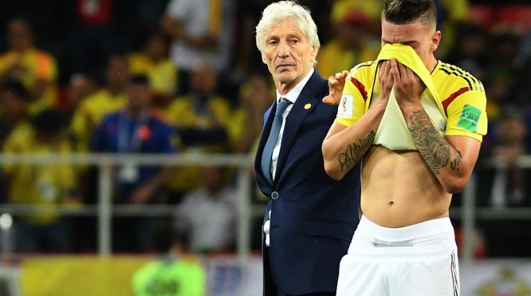 José Pékerman y Mateus Uribe con la Selección Colombia en Rusia 2018