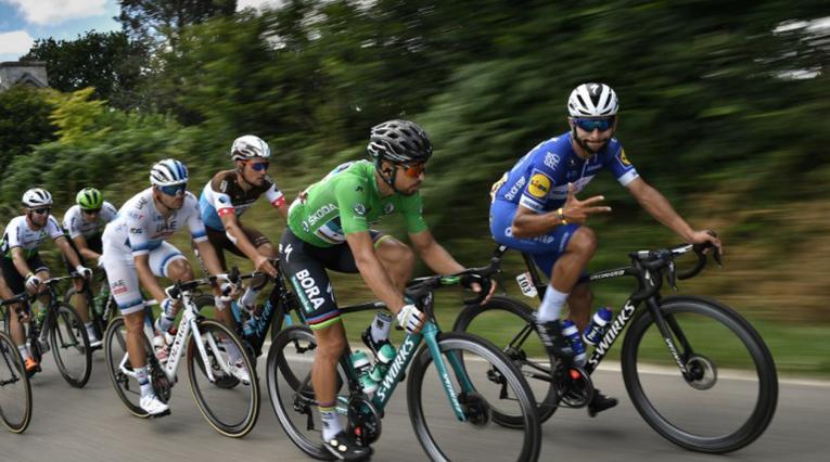 Fernando Gaviria y Peter Sagan en el Tour de Francia 2018