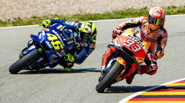 Marc Márquez y Valentino Rossi en el Gran Premio de MotoGP de Alemania