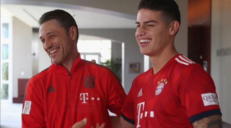 Niko Kovac y James Rodríguez.   Twitter (@FCBayern)