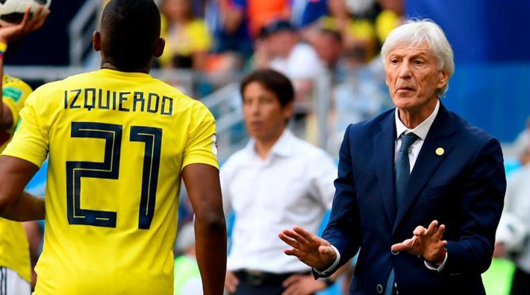 José Pékerman y José Izquierdo con Colombia en el debut de Rusia 2018 ante Japón