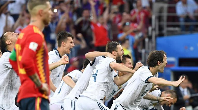 Jugadores rusos celebrando su pase a cuartos de final tras vencer a España