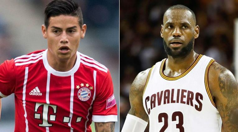 James Rodríguez y LeBron James, jugadores del Bayern Munich y los Lakers, respectivamente