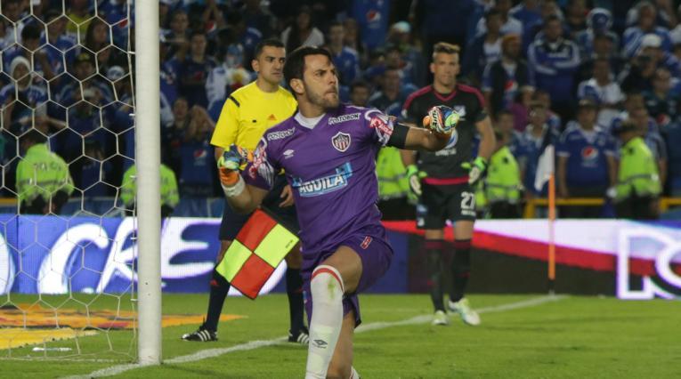 Sebastián Viera, arquero del Junior, anotador de cinco goles de tiro libre