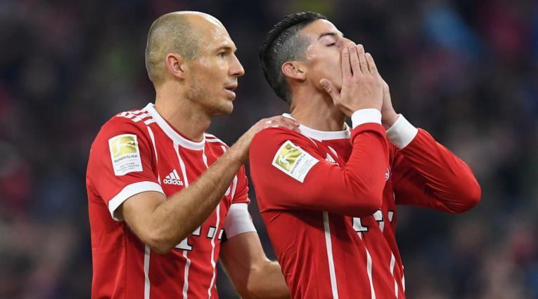 Arjen Robben y James Rodríguez