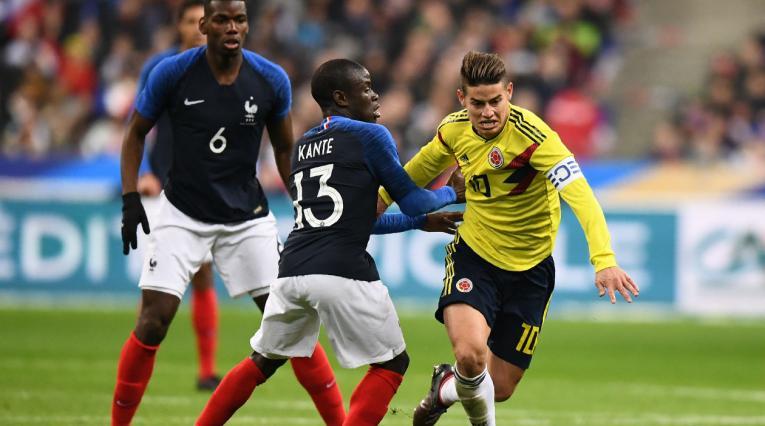 James Rodríguez, en el juego amistoso entre Francia y Colombia en el 2018