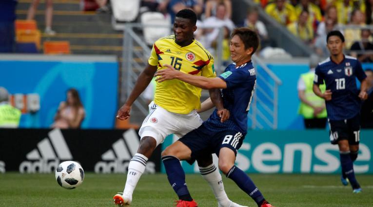 Jefferson Lerma con la Selección Colombia ante Japón en Rusia 2018
