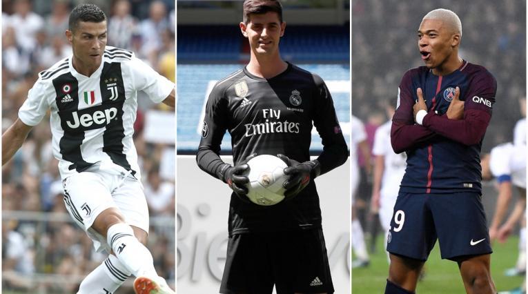 Cristiano Ronaldo, Thibaut Courtois y Kylian Mbappé