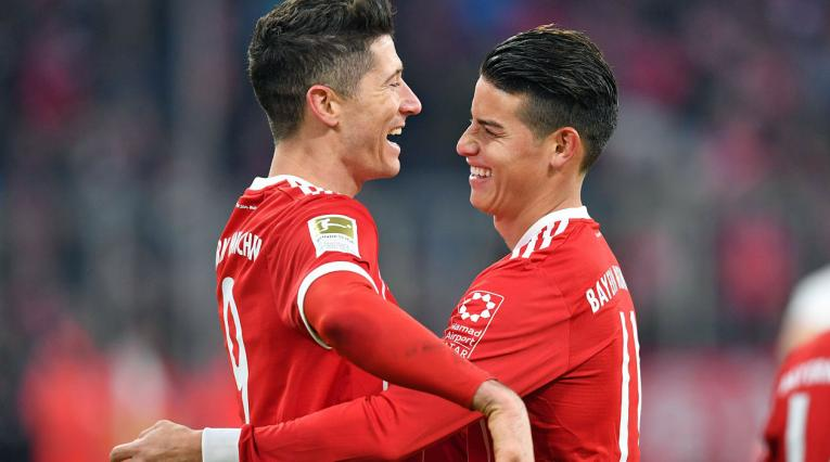 Robert Lewandowski y James Rodríguez