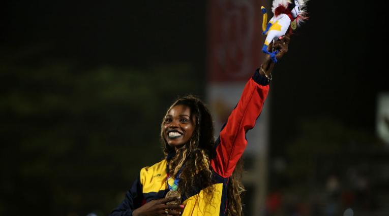Caterine Ibargüen tras ganar el oro del salto triple en los Juegos Centroamericanos y del Caribe Barranquilla 2018