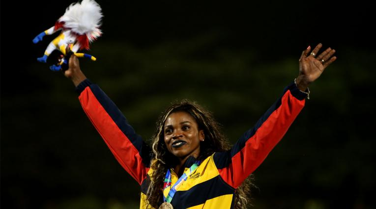 Caterine Ibargüen celebra haber ganado el oro del salto triple en los Juegos Centroamericanos y del Caribe Barranquilla 2018
