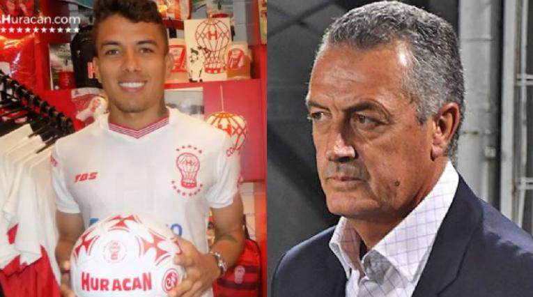 Andrés Felipe Roa, jugador de Huracán y Gustavo Alfaro, DT de Boca Juniors
