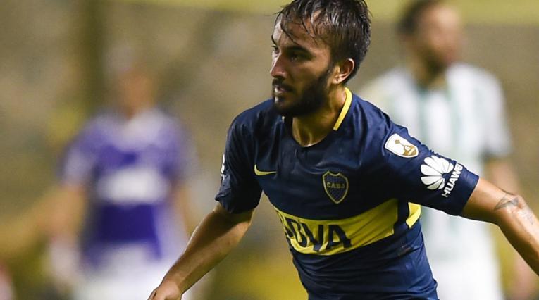 Sebastián Pérez en un juego de Copa Libertadores con Boca Juniors