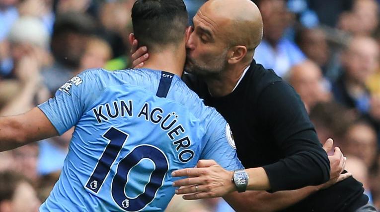 Sergio Agüero y Pep Guardiola