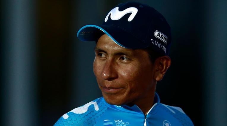 Nairo Quintana durante la premiación en la Vuelta a España 2018
