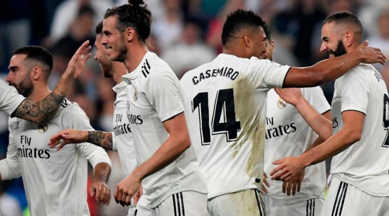 Jugadores del Real Madrid celebrando un gol