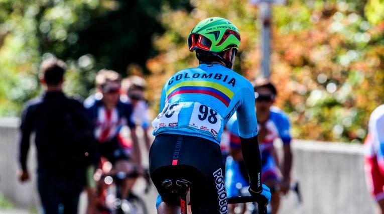 Un corredor de la Selección Colombia durante los mundiales de ciclismo en Austria