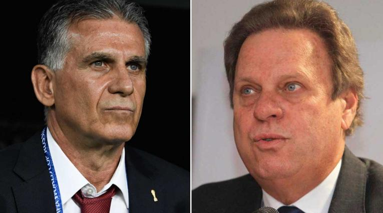 Carlos Queiroz, técnico portugués, y Ramón Jesurún, presidente de la FCF