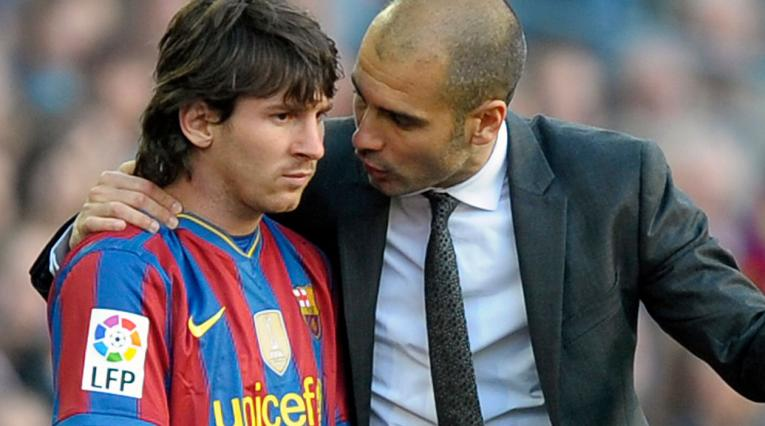Pep Guardiola y Messi cuando los dos coincidieron en el Barcelona