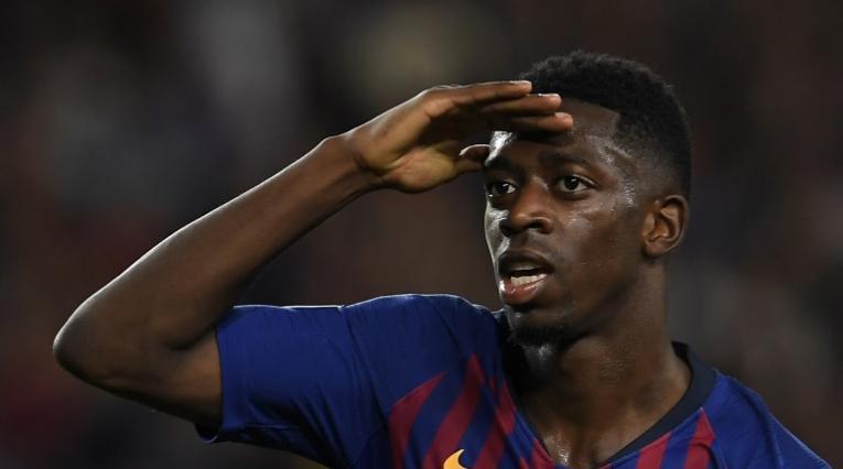 Ousmane Dembelé celebrando uno de sus pocos goles anotados con el Barcelona