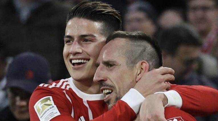 James Rodríguez y Franck Ribéry