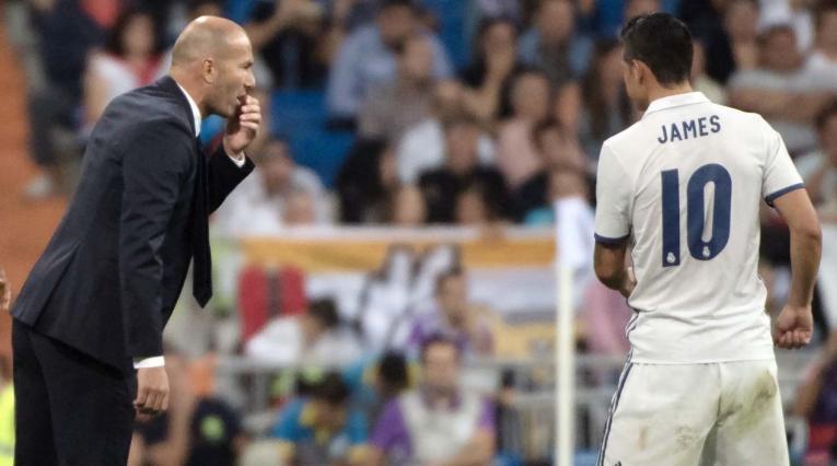 Zidane y James en el Real Madrid