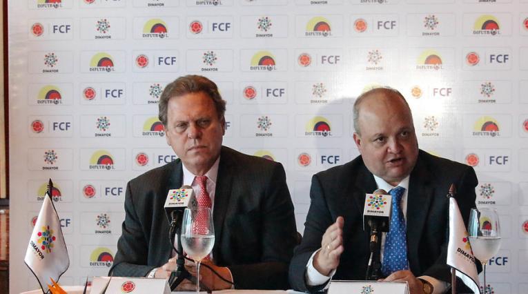 Ramón Jesurún (Presidente de la FCF) y Jorge Enrique Vélez (Presidente de la Dimayor)