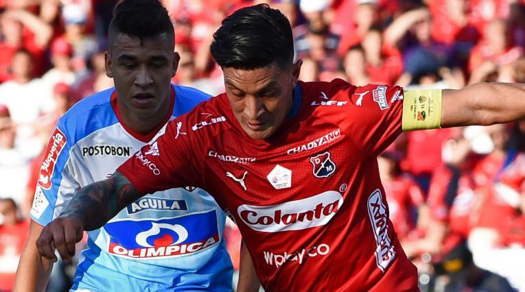 Germán Cano en el partido donde Independiente Medellín intentó la remontada ante Junior en la final