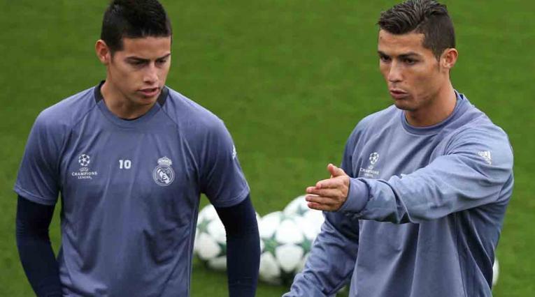 James y Cristiano Ronaldo entrenando en el Real Madrid