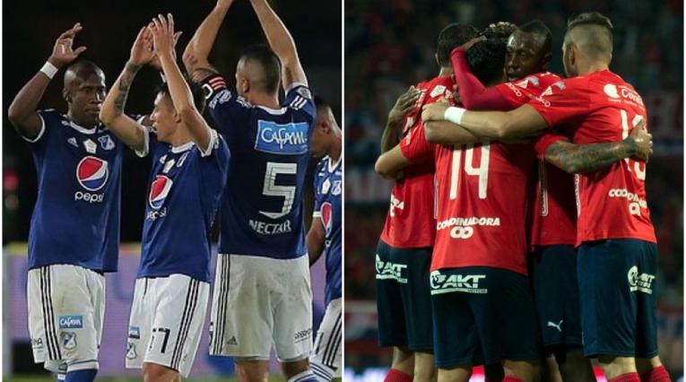 Jugadores de Millonarios e Independiente Medellín