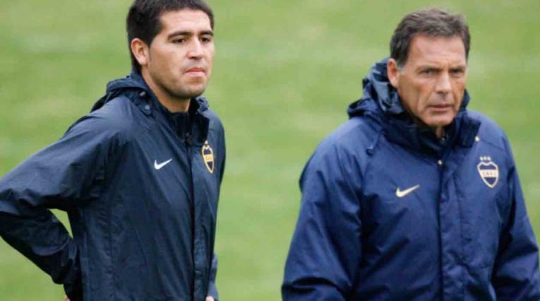 Juan Román Riquelme y Miguel Ángel Russo en Boca Juniors