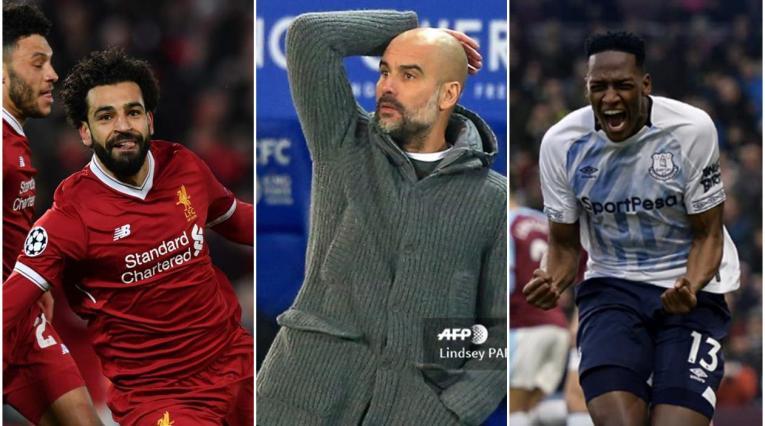 Mohamed Salah, Pep Guardiola y Yerry Mina