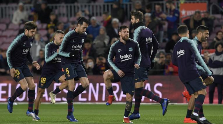 Jugadores de FC Barcelona durante un entrenamiento