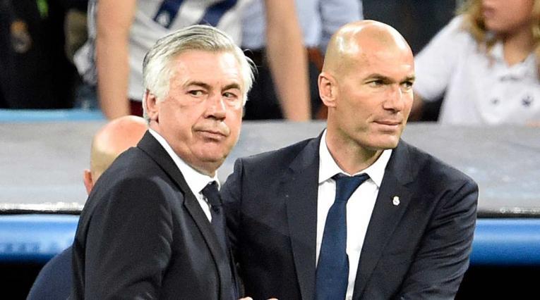 Carlo Ancelotti y Zinedine Zidane en su época en el Real Madrid
